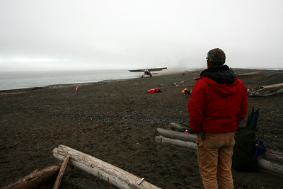 KONGAKUT RIVER, AK - Camp IX: Icy Reef; Bobby watches the Helio Courier as it roars along the beach we cleared to take off and haul Lindsay, Sune and a load of gear off Icy Reef.