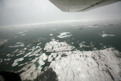 KONGAKUT RIVER, AK - Camp IX to X; Taking off and turning over the Arctic Ocean heading for Kaktovic, AK.