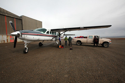 KAKTOVIK, AK - After packing up camp, spending the day at the Waldo Arms Hotel having breakfast, lunch and a shower we drive back out to the airstrip to load the Wright Air Service Cessna 208 Grand Carivan for our flight back to Fairbanks.