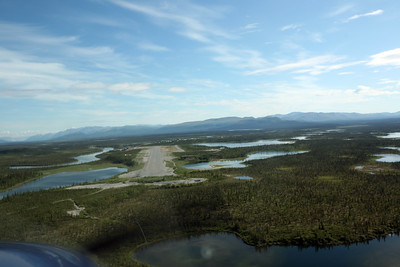 ARCTIC VILLAGE, AK - Comming in for a landing. Aboard a Cessna Grand Carivan operated by Wright Air from Fairbanks.