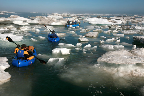 KONGAKUT RIVER, AK - Camp IX: Icy Reef; After we got camp set up we carried our boats over Icy Reef to the Arctic Ocean for an afternoon paddle amongst the broken up pack ice.