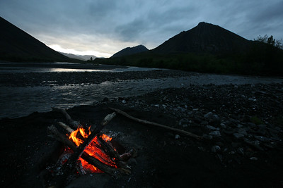 KONGAKUT RIVER, AK - Camp III: Drain Creek; Overnight watch.