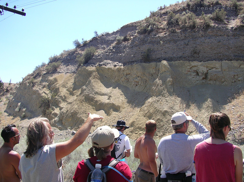 Our first stop along the river is this slope side cut where we can get a good look at the strata that makes up the earth. The lighter lower half we soon find out will be the nearly ubiquitous John Day Formation... see if you can spot it in upcoming photos.