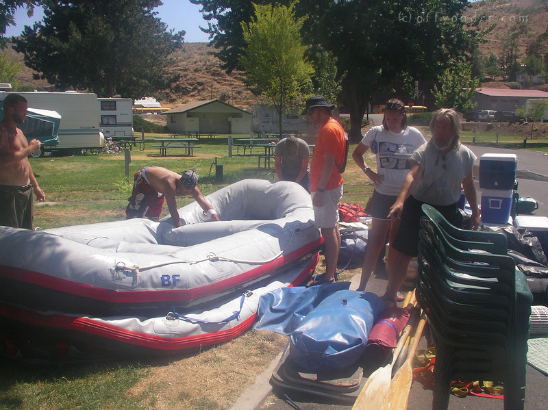 The gear is stacked, the rafts get defleated and rolled up.