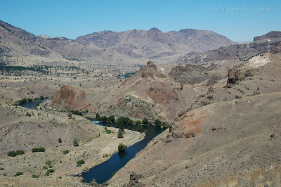 "Looking down river toward ""The Pot."""
