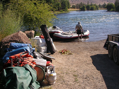 Then we have to move the rafts and all the gear to the  boat launch and load the boats.