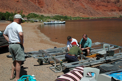 GRAND CANYON, AZ - We arrived at Lee's Ferry at noon on the day before our launch. This gave us time to build the frames to our rafts and to load them up so we're all ready to roll the next morning.