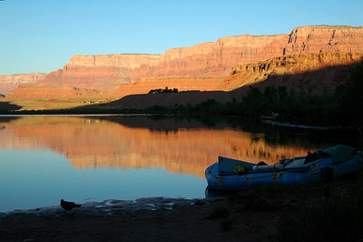 GRAND CANYON, AZ - The morning of our launch, we experienced the tide effect of the Colorado River. Larry's raft which was afloat the night before, was left mostly high and dry because of the flow control they have releasing water out of Lake Powell through Glen Canyon Dam not 20 miles up river.