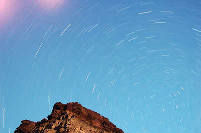 GRAND CANYON, AZ - The stars spinning above Tapeats Camp (XI) with moonlight.