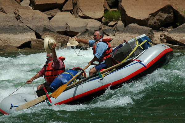 GRAND CANYON, AZ - John and Eddie show their rodeo skills in Forster Rapid at river mile 123.
