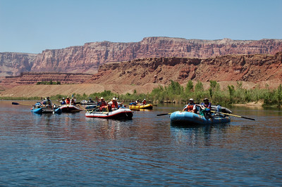 GRAND CANYON, AZ - By noon, we're finally on the water and our group of 8 rafts gather for a starting shot.