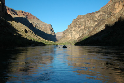 GRAND CANYON, AZ - We pass from morning shadow to light in the calm waters just above Lava Falls Rapid at mile 179.