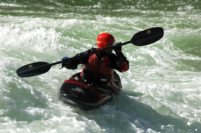GRAND CANYON, AZ - Larry takes another stab at the right side run of Lava Falls in his kayak.