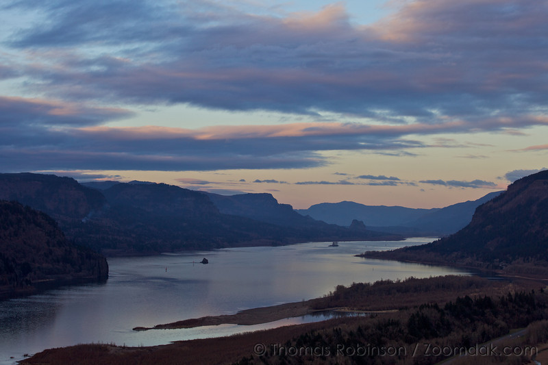 Twilight over the Columbia River Gorge as seen from Crown Point in mid-winter.
