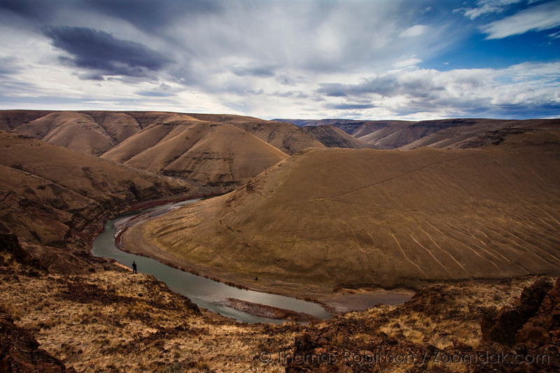 The John Day river carves its way through the desert country of Eastern Oregon near Wasco. One figure surveys the epic landscape before him.