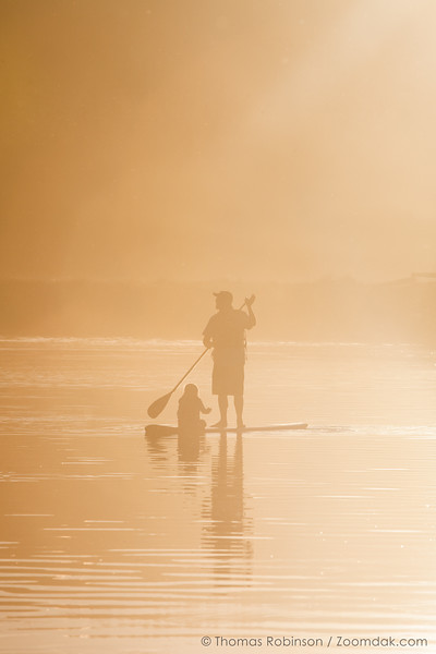 Father and Child Paddleboarding