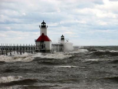 Lake MI Waves MI City Lighthouse