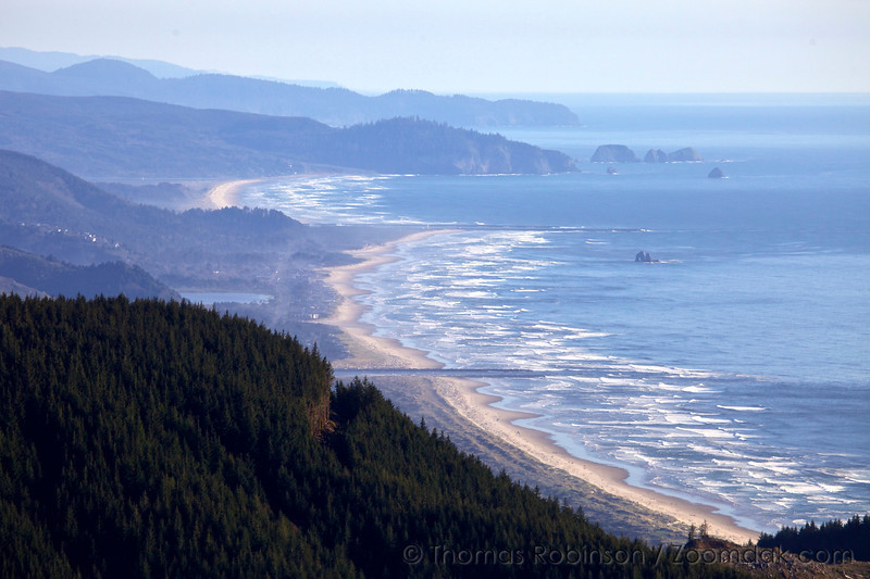 Looking south from the top of Angora Peak, one can see down curving beaches down to Cape Meares and all the way down to Cape Lookout.
