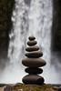 Balanced Stone Stack with Abiqua Falls