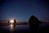 Star Trails Over Haystack Rock