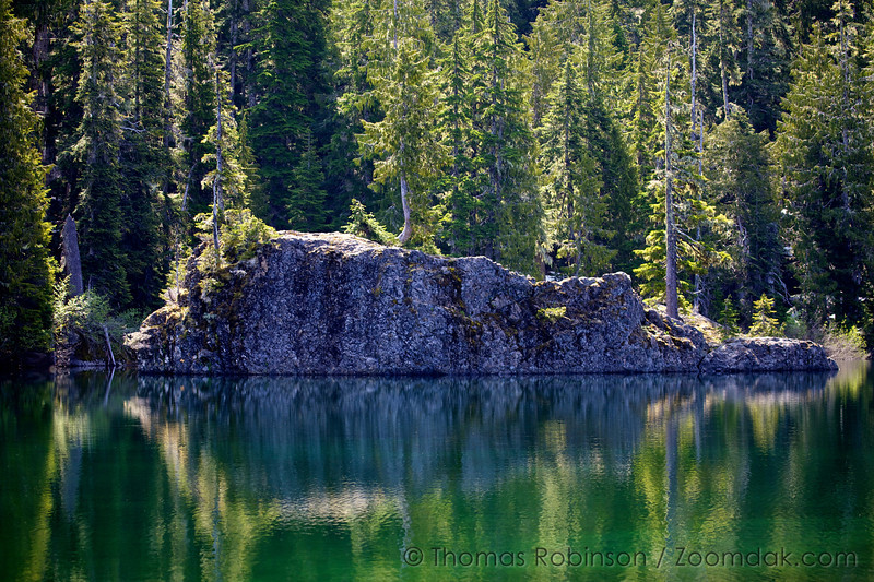 A rock island on the edge of Flapjack Lakes, hearty enough to support full grown trees.