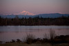 Pink alpen glow reflects off of Mt. Baker and Tennant Lake in Bellingham, Washington.