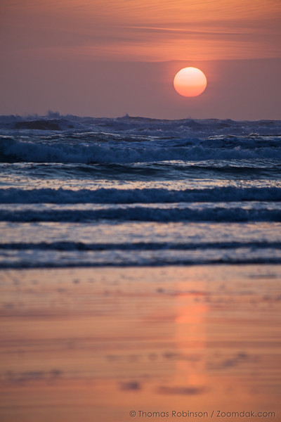 The sun goes down at Sunset Beach in Gearhart, Oregon.