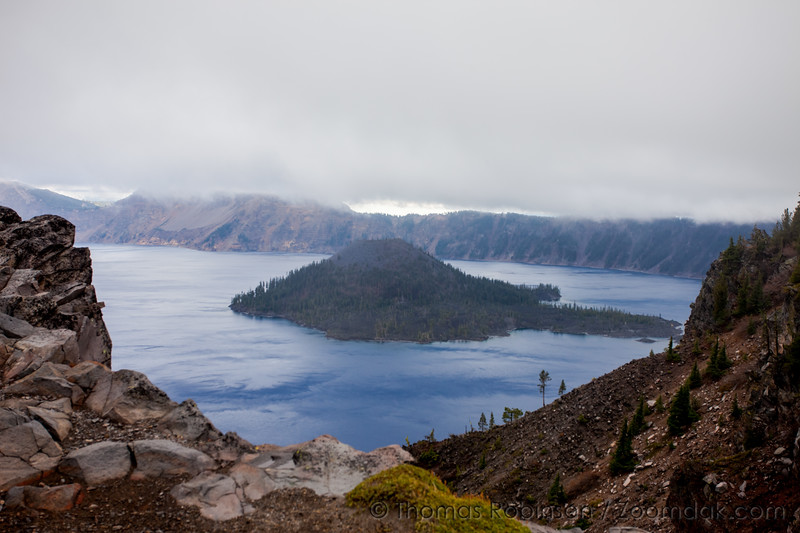 Wizard Island in Low Clouds at Crater Lake
