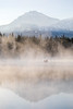 North Sister Morning Mist Reflection on Scott Lake