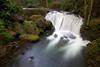Whatcom Creek at full torrent propells itself over Whatcom Falls in Bellingham, Washington.