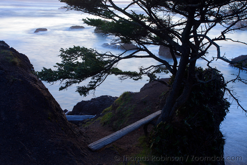 A makeshift bench in the saddle of a rock on Crescent Beach.