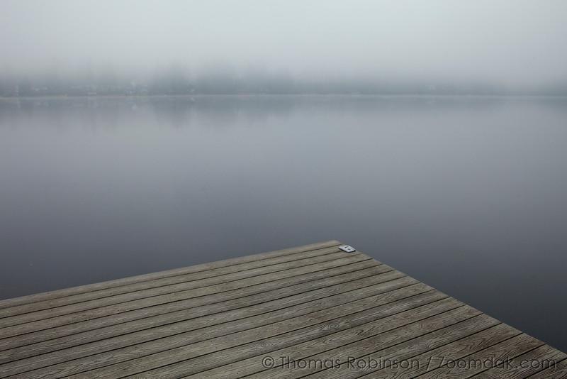 Lake Dock in Fog