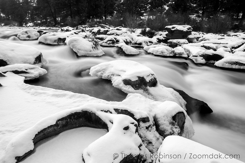 Deschutes River Winter Black and  White