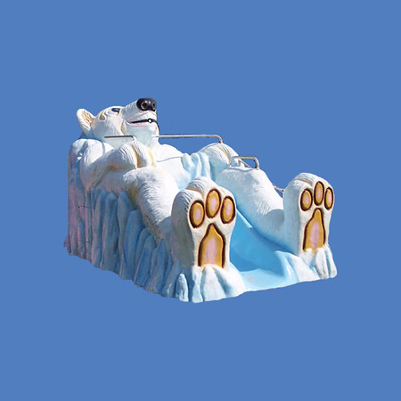 "Mr. Polar Bear Slide, small, 10'L x 6'H  #9118<br /> Mr. Polar Bear Slide, large, 17'L x 8'2""H  #9034"