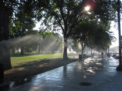 Watery morning perspectives (Constitution Avenue, Washington, D.C.)