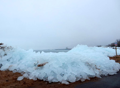 Ice on the shore of Lake Superior, Ashland, WI, April 8, 2015.