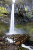 The bridge across McCord Creek next to Elowah Falls, a 213 foot falls in the Columbia River Gorge.