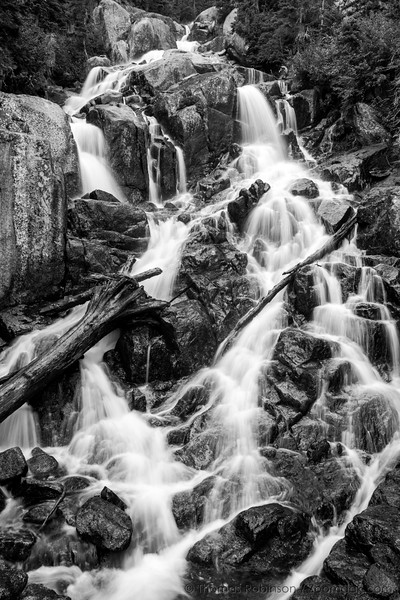Upper Snow Creek Falls Black and White