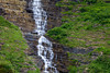 Haystack Falls cascades down rock shelves along the Going to the Sun road in Glacier National Park.