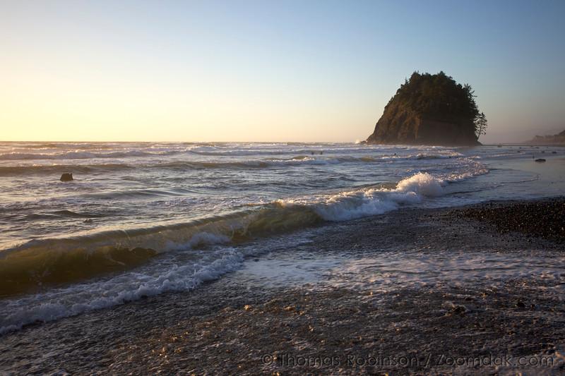 Waves break near Proposal Rock on the beach of Neskowin State Park