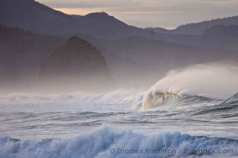 A morning wave curls infront of Haystack Rock in Cannon Beach, Oregon.