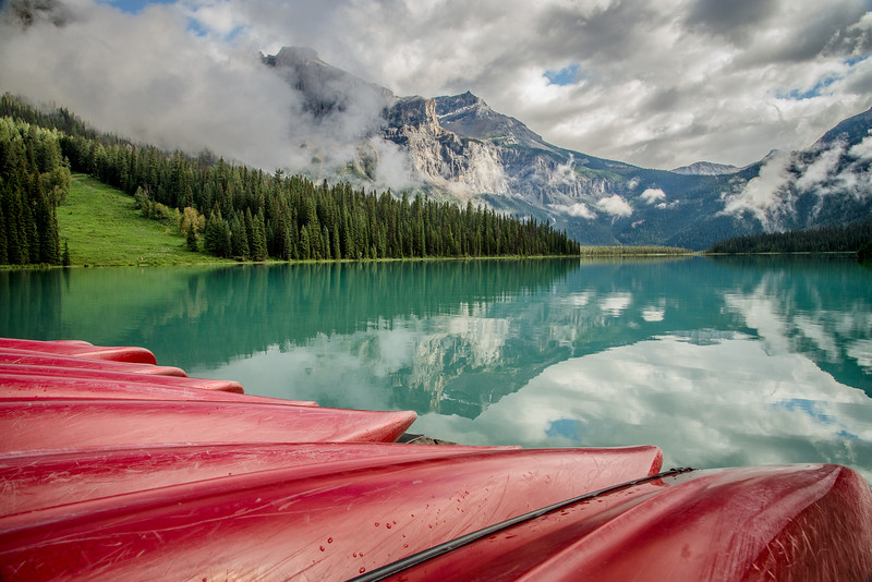 Red boats at Emerald Lake in Yoho
