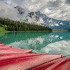 Red boats at Emerald Lake