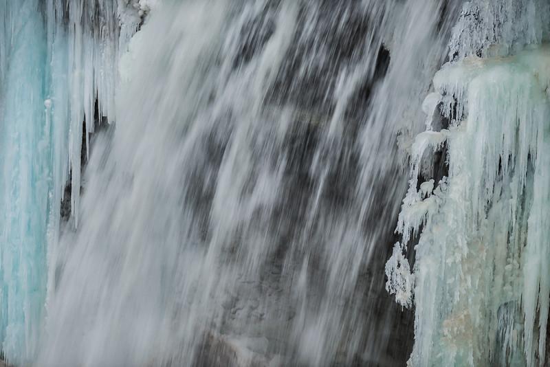 Frozen Minnehaha Falls close-up