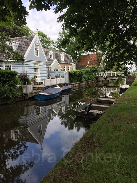 Canal, cottages and boats, Broek in Waterland, The Netherlands