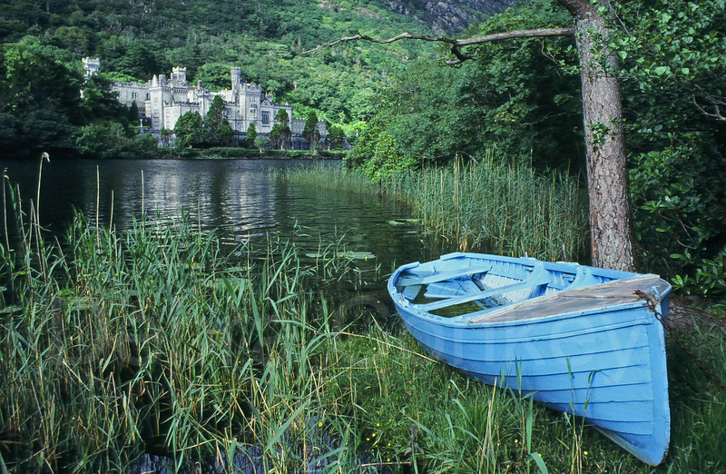 Blue boat on lake, Kylemore Abbey, Ireland