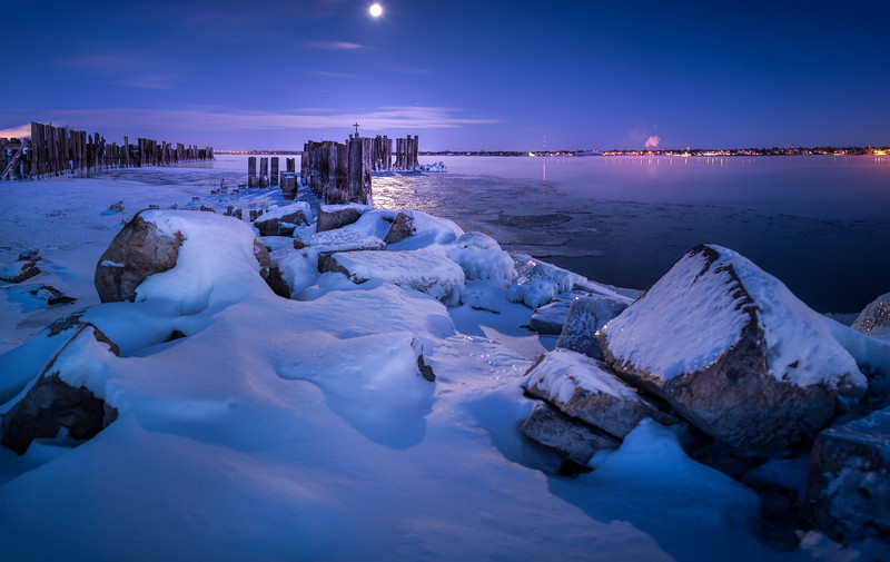 Rising Moon Over the Piers I - Prescott, Ontario