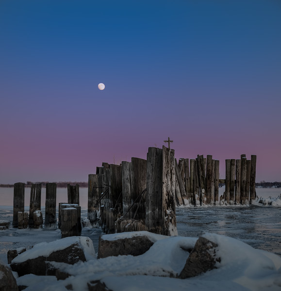 Rising Moon Over the Piers II - Prescott, Ontario
