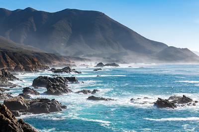Misty Waves off California Coast