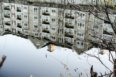 Pond apartment reflection